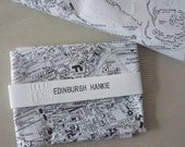 Edinburgh Hankie Screenprinted Vintage Map Handkerchief