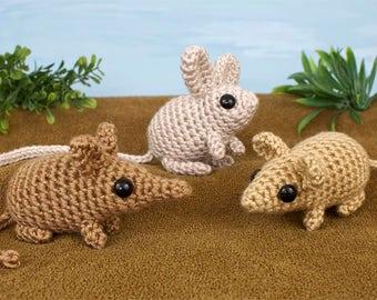 PDF Mini Mammals - Sengi Jerboa Mouse - three amigurumi CROCHET PATTERNS