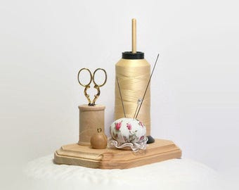 Thread Holder, Wooden Spool Holder with Pincushion, Scissor Holder, Thread Stand, Bobbin Holder, The Thready(c)