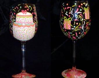 Colorful PERSONALIZED Hand Painted Birthday Wine Glass  - Artist Original - Dishwasher Safe Finish!