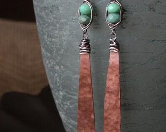 Long Hammered Copper Dangle Earrings, Wire Wrapped Chrysoprase Earrings, Copper Chrysoprase Sterling Silver Earrings, Mixed Metal Earrings