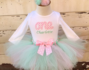 Pink & Mint Green 1st Birthday Tutu Outfit- ONE Personalized- Baby Girl