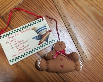 Two Christmas ornaments gingerbread man