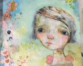 Reserved for kelli m. SOFIA - ORIGINAL 12x12 painting on wood