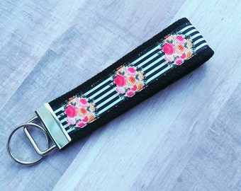 Flowers and Stripes Chic Key Fob