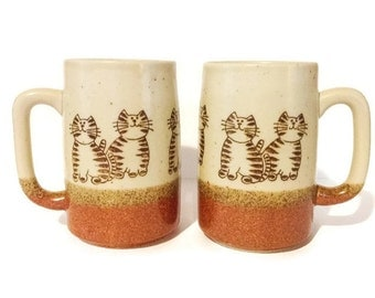 Matching Pair of Vintage Cat Mugs, Pottery Coffee Mugs, Brown Pottery, Tabby Cat