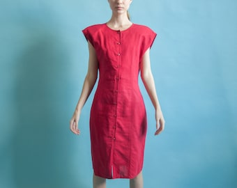 GIORGIO SANT'ANGELO red linen dress / strong shoulder linen mini dress / woven mini dress / m / 1715d / B13