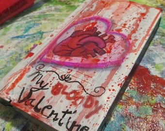My Bloody Valentine painting - art on recycled Vhs Tape, gothic wall art, 80's room decor, classic horror, movie lovers gift