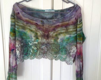 Womens M Crop Top Tie Die Crop Top Size Medium Shirt Upcycled Crop Top