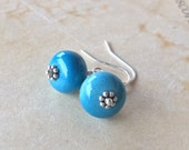 Vintage Lucite Earrings blue two tone sterling silver