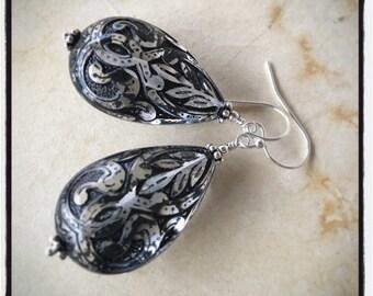 Vintage style black and crystal teardrop earrings in sterling silver