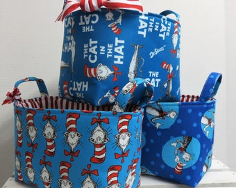 Set of 3 Fabric Container Organizer Bins Baskets -Storage Organization -  Made w/ Licensed Dr. Seuss Fabrics - Blue Cat in the Hat Fabrics