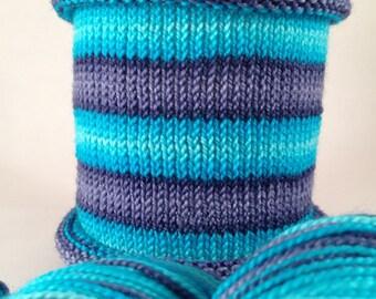 You Blue You: Hand-dyed gradient self-striping sock yarn, 80/20 SW merino/nylon