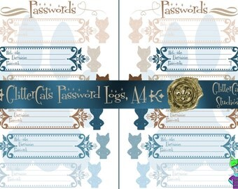 A4 Digital Downloadable Printable Password Planner Logs seashell sky blue beach-themed password keepers for web-sites