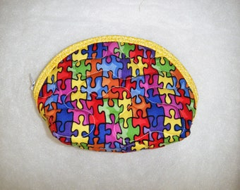 Small Quilted Purse - Puzzle Pieces