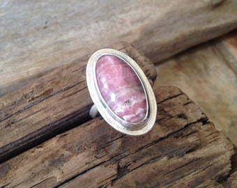 Rhodochrosite Sterling Statement Ring