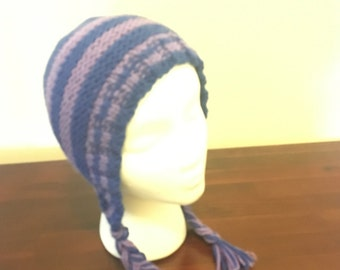 Warm hand knit earflap hat