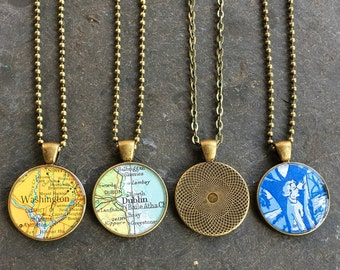 Custom Map Necklace Bold Bronze Loop Vintage Atlas Your Choice of City