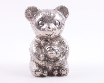 Vintage, Silver, Piggy Bank, Bears, Mom and Cub, Nursery, Coin Bank ~ The Pink Room ~ 161207