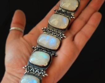 Moonlight-Fine/Sterling silver,Rainbow moonstone bracelet