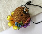 Bumble Bee Needle Minder, Beehive Skep Magnetic Needle Keeper Handcrafted from Claybykim