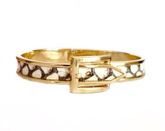 Gold Buckle Bracelet With Black and Ivory Snakeskin  - by UNEARTHED