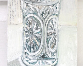 Chrystal Glass original still life mixed media painting by Polly Jones