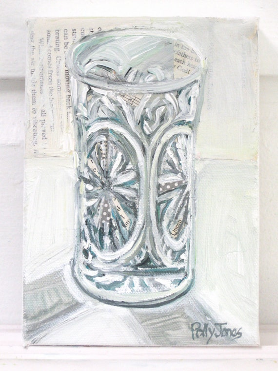 Chrystal Glass original still life mixed media painting by Polly Jones