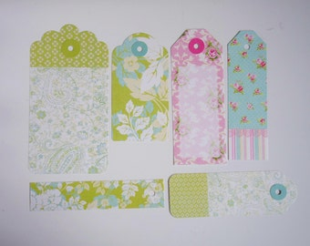 Paper tags embellishment, scrapbook supplies, gift tags, paper tags, card making. Green, White, Pink, Blue, Flowers, Floral, Spring, Pastel