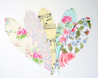 Spring summer pastel floral & music paper feathers: scrap booking supplies, wedding decor, party decor, card topper embellishment.