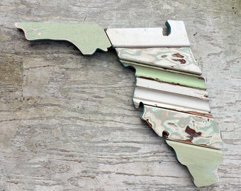 Florida Wall Art. State Outline, Beach House Decor, Architectural Salvage, Reclaimed Wood Wall Art, Boho Wall Decor, Bohemian Home Decor