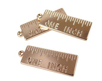 Rose Gold Plated One Inch Ruler Pendants (2X) (K601-D)