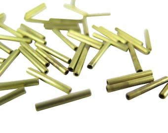 Tiny Vintage Matte Brass Tube Beads (72x) (B527)
