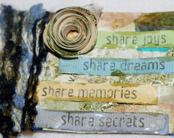 Handmade ATC Share Life's Joys, Quotes, DIY, Mixed Media, Collage, Collect and Trade