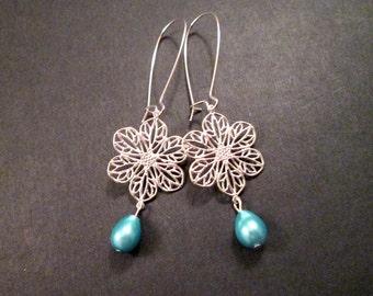 Pearl Drop Earrings, Blue Glass Pearls and Silver Filigree Flower Pendants, Long Dangle Earrings, FREE Shipping U.S.