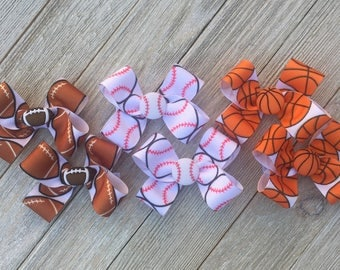 Sport Hair Bows,You Choose...1 PAIR Baseball,Basketball,Football Hair Bows,Pigtail Hair Bows,Alligator Clips,with option to buy all 3 pairs