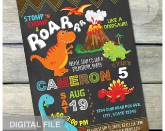 "Dinosaur Birthday Invitation Chalkboard Party Rustic Wood Style Boys or Girls - DIGITAL Printable Invite - 5"" x 7"""