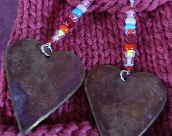 Big Hearted. Heart, Valentine, Gift for Her, brass, seed bead, red, pink, earring, jewelry, silver, recycled, vintage.