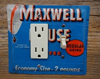 Kitchen Switch Plates Plate GFCI Combination Cover Made From A Vintage Maxwell House Coffee Tin Cans Lighting Decor Tins GFC-3018C-R