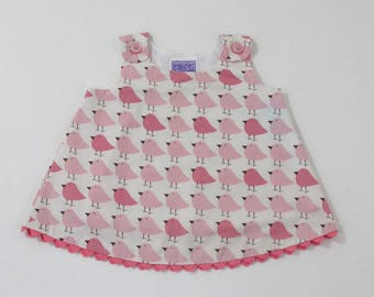 Pink Birds Dwell Studio Baby Girls Dress - Size 3 - 6 Months - Pink & White Girls Frock - Second Quality