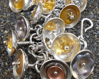 Bracelet Abstract Flowers Sterling Gemstone Handmade Hammered  Links with Bell Shaped Charms  7.5 inches