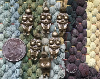 6 Antique Bronze Goddess of Willendorf Pendants