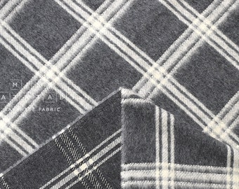 Japanese Fabric Yarn Dyed Wool plaid - grey, cream - 50cm