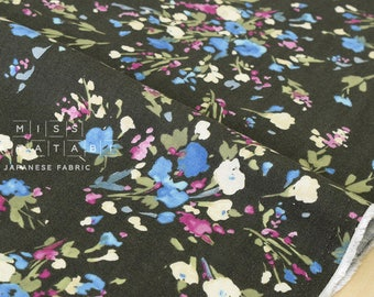 Japanese Fabric brushed twill watercolor flowers - olive green - 50cm