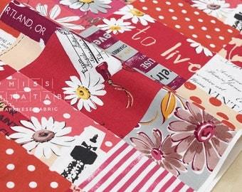 Japanese Fabric Yuwa Suzuko Koseki Marguerite Collection - red - 50cm