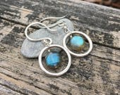 Labradorite Gemstone, Sterling Silver, Dangle Earrings, Blue Green Fire Flash, Handmade Jewelry, Unique, One of a kind, Wire Wrap, Circle
