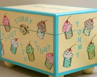 Hand Painted Recipe Box, Cook's Wooden Recipe Box, Yummy Cupcake Dessert Box, Baker's Recipe Box, Wooden Box For Baking, Chef's Recipe Box