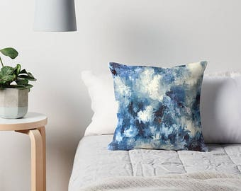 Pillow Cover, Blue Pillow Cover, Blue Throw Pillow, Throw Pillow Cover, Decorative Pillow, Blue Cushion Cover, Blue Pillow, Blue And White