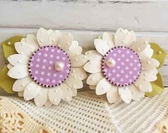 Spring Purple  Polkadot White Flower Embellishments Set of 2