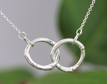 Sterling Silver Double Twig Circle Necklace - Branch Jewelry - Twig Pendant - Natural Organic - Joined Unity Circle Necklace - Made to Order